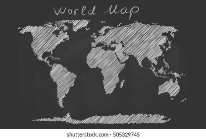 World map hand drawn chalk sketch on a blackboard. Vector illustration.