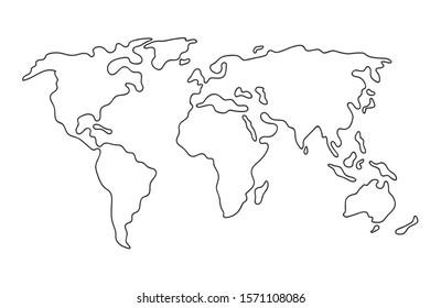 Weltkarte. Handgezeichnete, schlichte Kontinente Silhouette in minimaler Linienführung dünne Form. Einzelne Vektorgrafik