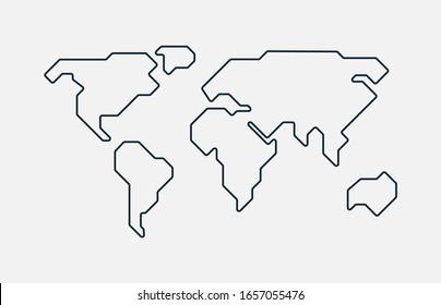 Weltkarte. Handgezeichnete, schlichte Kontinente Silhouette in minimaler Linienführung dünne Form. Vektorillustration einzeln.