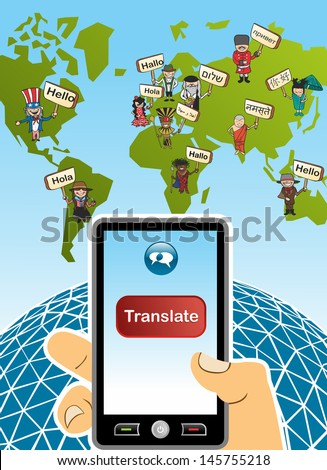 World Map Hand Smartphone Translation Concept Stock Vector (Royalty
