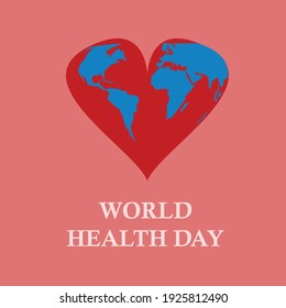 world map in a heart and words that say world health day on red background