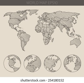 Hand Drawn Map Of The World.World Map Drawing Images Stock Photos Vectors Shutterstock