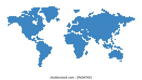 World Map Hexagon Blue
