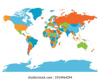 World map. High detailed blank political map of World. 5 colors scheme vector map on white background.