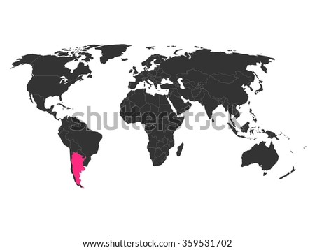 World Map Highlighted Argentina Stock Vector (Royalty Free ...