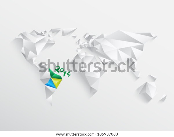 World map with highlighted brazil for 2014 on white background