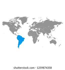 World map and highlighted South America blue color