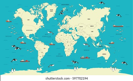 World Map highly detailed vector illustration