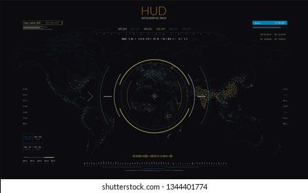 World Map HUD Infographics Population Density Vector Illustration