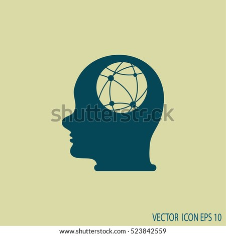 world map and human head.