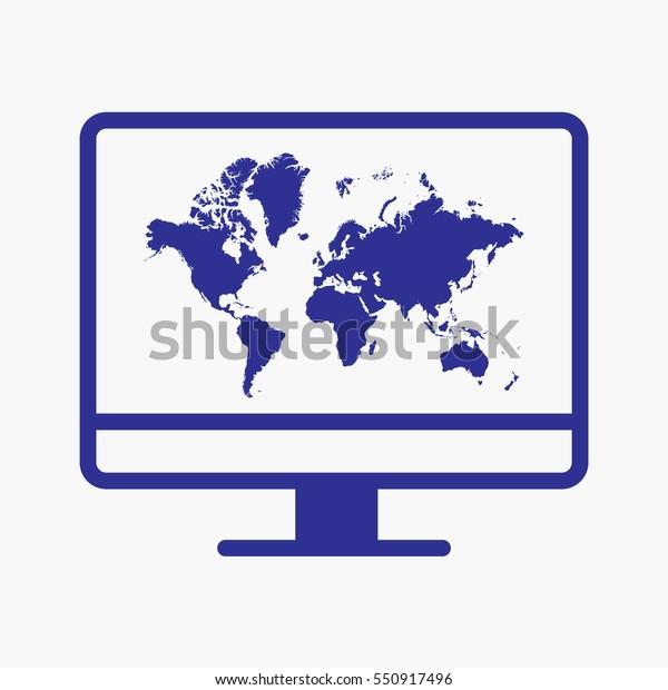 World Map Icon Computer Screen Concept Stock Vector (Royalty