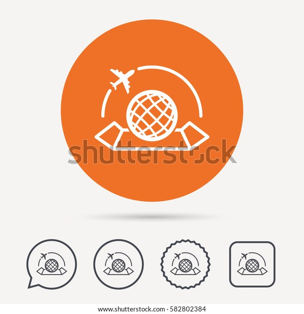 World map icon. Globe with airplane sign. Plane travel symbol. Circle, speech bubble and star buttons. Flat web icons. Vector