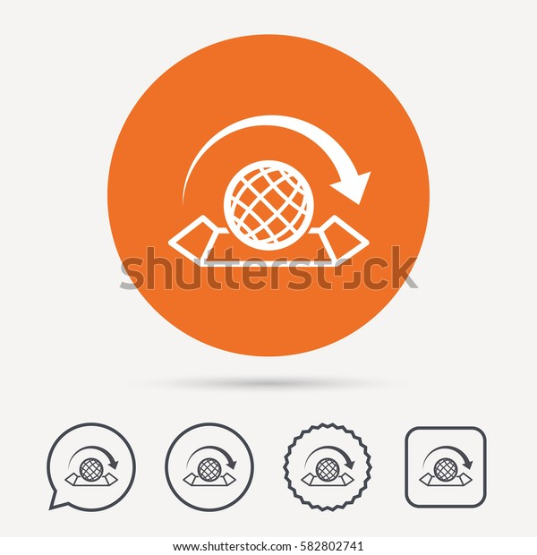 World map icon. Globe with arrow sign. Travel location symbol. Circle, speech bubble and star buttons. Flat web icons. Vector