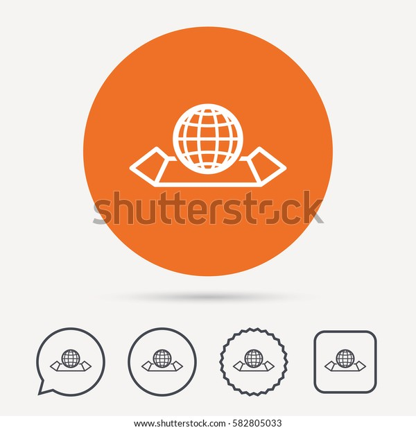 World map icon. Globe sign. Travel location symbol. Circle, speech bubble and star buttons. Flat web icons. Vector