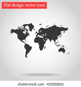 World map icon with shadow flat bottom. vector illustration