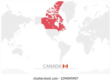 Canada On Map Of The World.Grayscale World Map Images Stock Photos Vectors Shutterstock