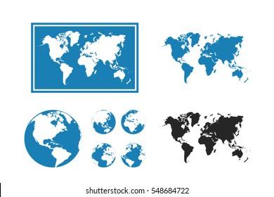World Map Illustration with globe set