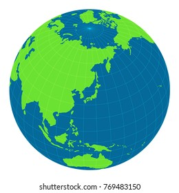 world map illustration (globe / sphere). focus on Japan and east asia.