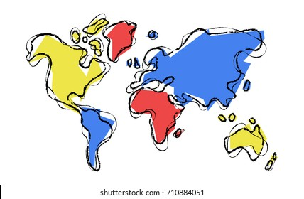 World map illustration template in hand drawn style, concept doodle design with colorful abstract continent shapes. EPS10 vector.