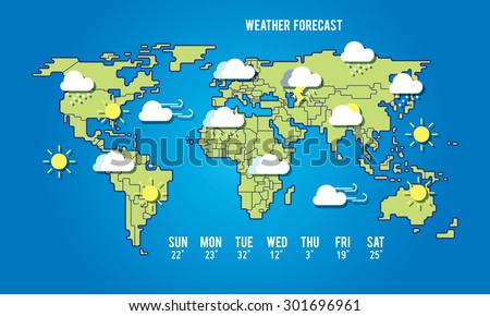 World Map Illustration Weather Forecast Line Stock Vector Royalty