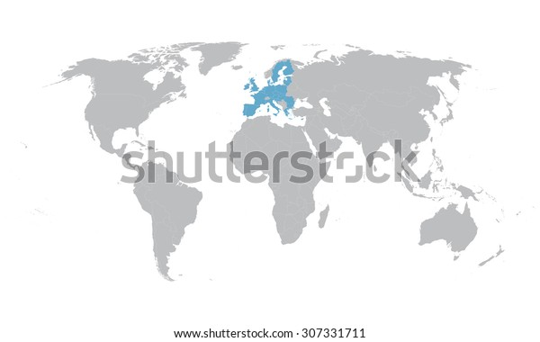World Map Indication European Union Stock Vector (Royalty ...
