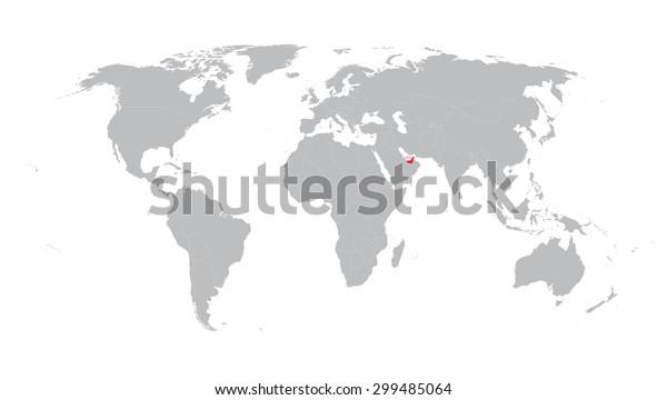 world map with indication of United Arab Emirates