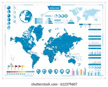 World Map and infograpchic elements. Mercator projection. Vector illustration.