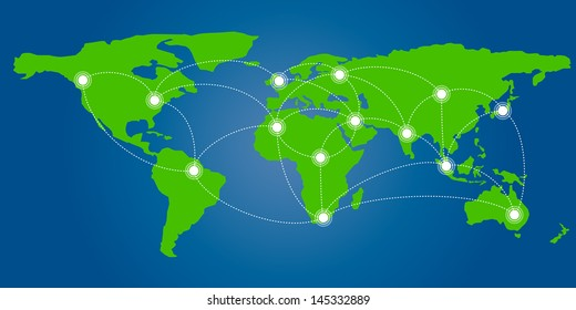 World map with infographic connection concept, vector format
