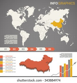World map and infographic elements with the 3d map of China