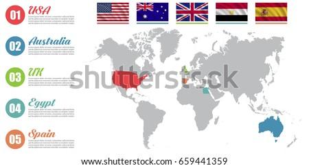 World map infographic slide presentation usa stock vector royalty world map infographic slide presentation usa australia uk egypt spain gumiabroncs Images