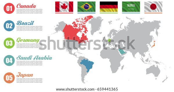 World Map Infographic Slide Presentation Canada Stock ...