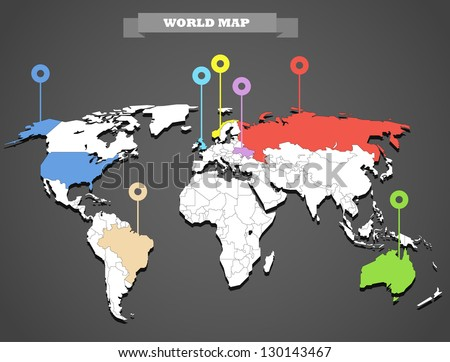 world map infographic template all countries stock vector royalty