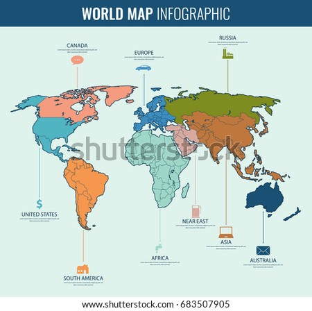 World Map Infographic Template All Countries Stock-Vrgrafik ... on