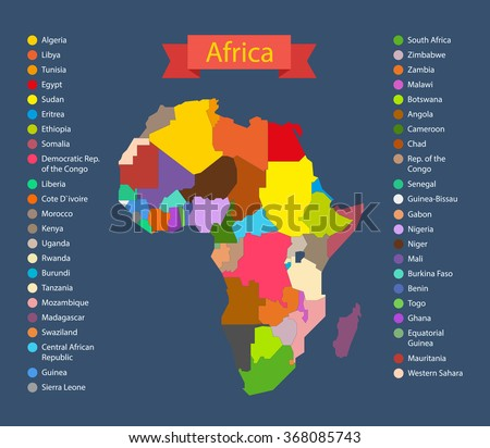 World Map Infographic Template Countries Africa Stock Vector ...
