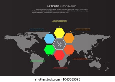 World map infographic template dark consept. Colorful origami banner collection. use for layout, workflow, information or presentation and other. Vector eps10 illustration