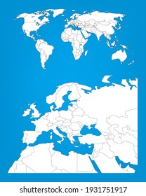 Modèle d'infographie de la carte mondiale avec sélection de la zone Europe