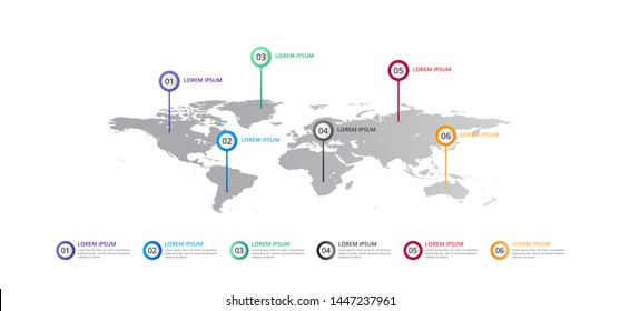 world map Infographic template with icons options