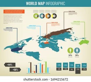 World map infographic template. Vector illustration