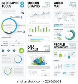 World map infographics & business visualization vector elements. Elements for graphic presentation in newspapers, brochures, flyers, websites, etc. Flat and long shadows design. Blue & green colors
