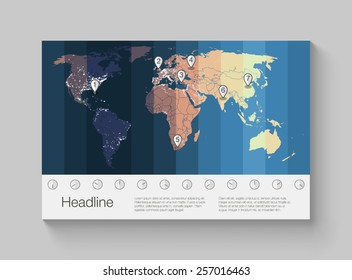 World map infographics with clear illustration of time zones.
