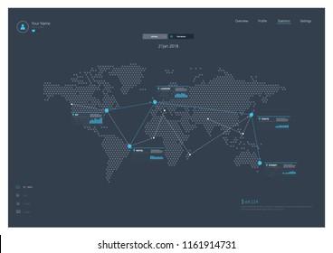 World Map Infographics Landing Page UI UX Vector Illustration