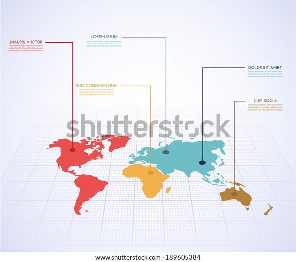 World map infographics. Vector eps10.