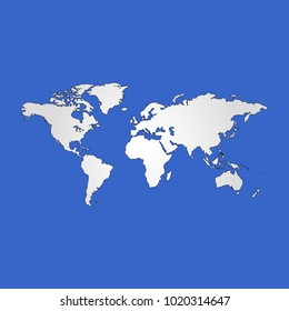 World map isolated flat vector poster