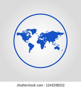 World map isolated flat vector icon
