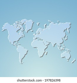 World map isolated on blue - vector illustration