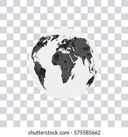 World map isolated on transparent background. Earth. Globe. Modern Monochrome World map Vector Illustration.