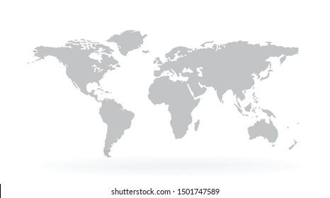 World Map Isolated on white background - stock vector.