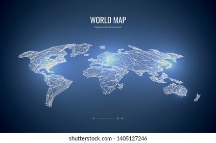 World map isometric. Polygonal wireframe composition. Abstract illustration isolated on blue background. Polygonal space with connected dots and lines.