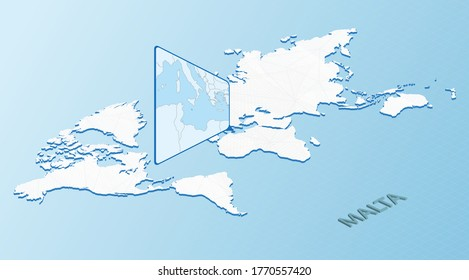 World Map in isometric style with detailed map of Malta. Light blue Malta map with abstract World Map. Vector illustration.