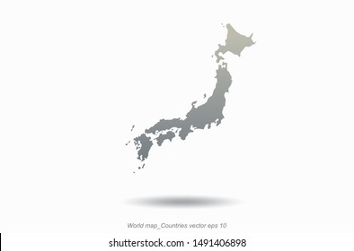 world map. japan map outline in vector. asia country map.